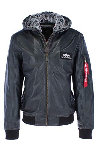 ALPHA INDUSTRIES Herren Leather MA-1 D-Tec Leder, Black, M