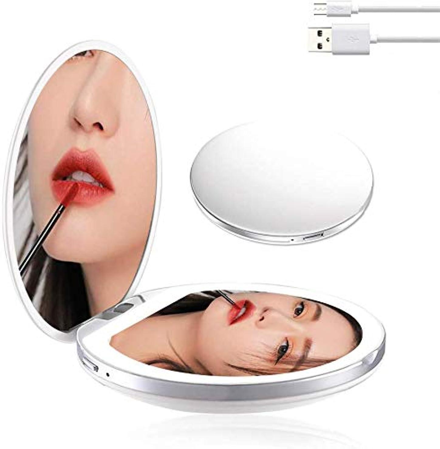 に負ける危険を冒します証人携帯ミラー 化粧鏡 LED手鏡 両面ミラー 折り畳み式鏡 コンパクトミラー 3倍拡大 持ちやすい ファッション 便利軽量 ファッション USB充電 明るさ調節可能 (ホワイト)