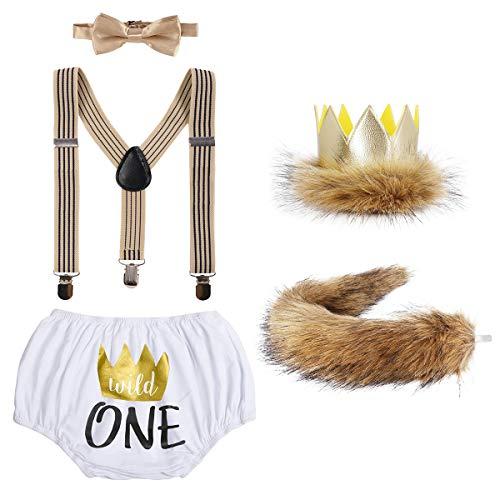 IBAKOM Disfraz de cumpleaños para bebé, disfraz de león, pantalón corto + tirantes + pajarita + cola de peluche + corona de piel sintética + 5 piezas 02 3-24 meses