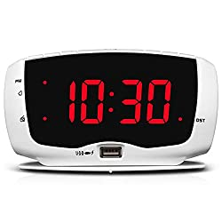 DreamSky Electronics Alarm Clock Radio for Bedrooms, FM Radio, 1.4 Inches Large LED Number Display, Dual USB Charging Ports, Headphone Jack, Snooze, DST, Sleep Timer