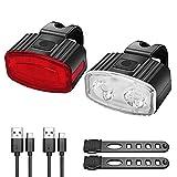 ENCOMAG LED Fahrradlicht Set,USB Beleuchtungs-Set Aufladbar,IPX5 Wasserdicht Fahrradbeleuchtung,Fahrradlampen Klein,Fahrradlicht Vorne Frontlicht und Rücklicht Set für Mountainbikes Oder Rennräder