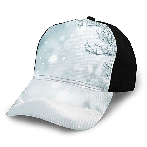 Baseball Cap Hat for Men & Women,Christmas Themed Image Snow and Frosted Tree Snowflakes Winter Season Illustration