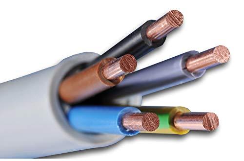 Preisvergleich Produktbild Installationskabel NYM-J 5x2, 5 mm² - Kunststoff Installationsleitung - 10m / 10 m / 10 meter -PVC - grau