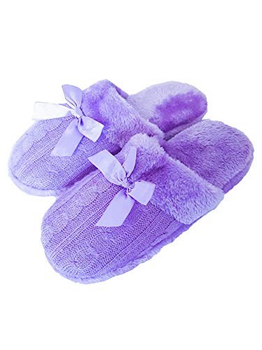 TopDeal--- Hausschuhe Damen Winter Hauslatschen Latschen Pantoffeln Schlappen Gr. 36/37, Farbe: Lila