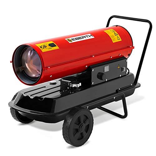 EBERTH 30kW Direkt-Ölheizgebläse (33L Kraftstofftank, Überhitzungsschutz, integriertes Thermostat, elektronische Zündung, 230V, Flammensicherung, Tragegriff, Fahrgestell)