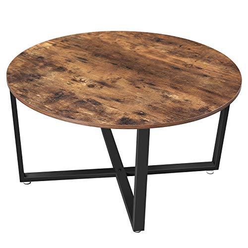VASAGLE Couchtisch rund, Wohnzimmertisch, Sofatisch, Kaffeetisch, stabiles Stahlgestell, einfacher Aufbau, Industrie-Design, Vintage, Dunkelbraun LCT88X