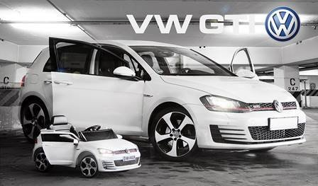 Kinder Elektro Auto VW Golf 7 GTI 2x30W 12V Elektroauto Kinderfahrzeug Ferngesteuert Elektro (Schwarz)
