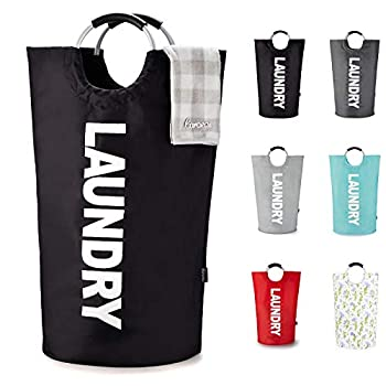 Caroeas 90L X-Large Laundry Basket  7 Colors  Waterproof Laundry Hamper Laundry Bag with Padded Handles Clothes Hamper Stands Up Well Collapsible Laundry Basket Easy Storage Black