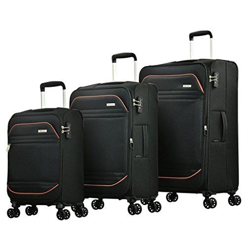 Eminent Koffer-Set Barcelona 3-teilig Weichgepäck super leicht 4 Doppelrollen TSA Schloss Reisegepäck Schwarz
