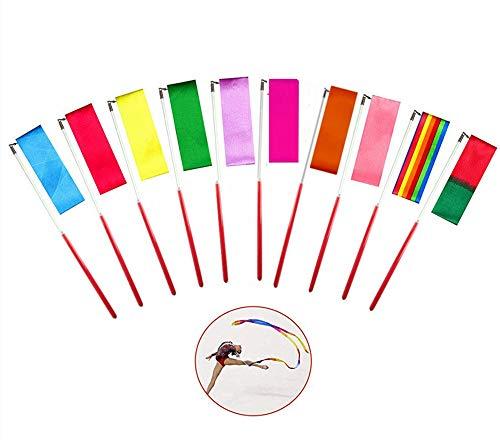Gymnastic Ribbon,10 Stück Rhythmic Gymnastics Ribbon 2 Meter Tanzen Streamer Regenbogen Band für Kinder Tanzen Streamer Rhythmisch,10 Farben