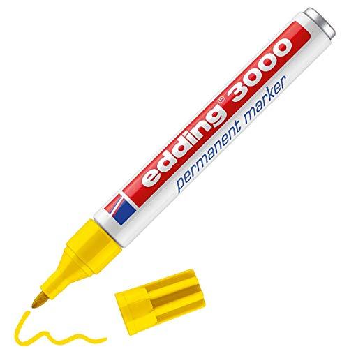 edding 3000 Permanentmarker - gelb - 1 Stift - Rund-Spitze 1,5-3 mm - schnell trocknender Permanent Marker - wasserfest, wischfest - für Karton, Kunststoff, Holz, Metall - Universalmarker