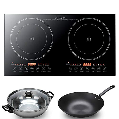 TOWERS1 1200W Electric Double Induction Cooktop 8 Gear Touch Control With Adjustable Temperature Control And Non-Slip Rubber Feet