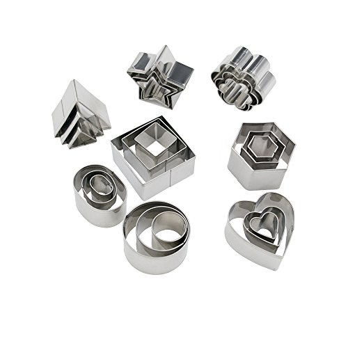 Homy Feel Mini Geometric Shaped Cookie Biscuit Cutter Set 24 Hexagon Square Heart Triangle Round Tiny Circle Baking Stainless Steel Metal Molds