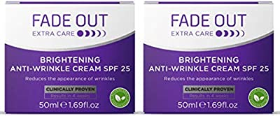 Fade Out Brightening Anti-Wrinkle Cream SPF 25 - Clinically Proven Face Cream to Brighten and Even Skin tone in 4 weeks, 2 x 50ml by Vivalis Beauty