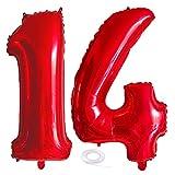 SNOWZAN Globo de 14º cumpleaños rojo niña niño número 14 globos gigantes globos de helio número 14 globos grandes números 14 años XXL 14 cumpleaños para fiesta