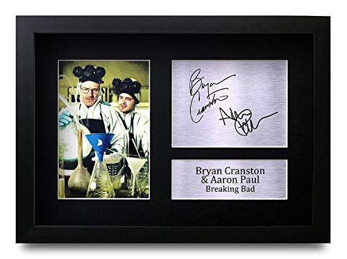HWC Trading Breaking Bad A4 Incorniciato Firmato Regalo Visualizzazione delle Foto Print Immagine Autografo Stampato per Bryan Cranston Aaron Paul TV Show Fan