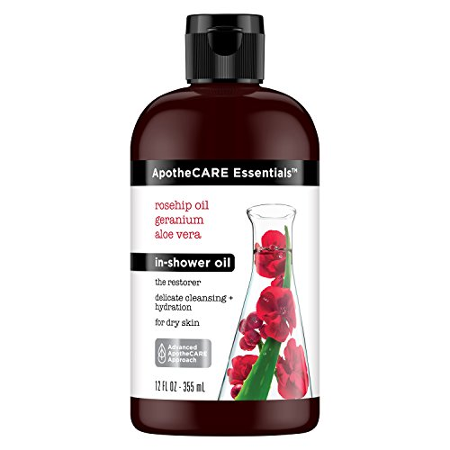 ApotheCARE Essentials The Restorer In-Shower Oil, Rosehip Oil, Geranium, Aloe Vera, 12 oz
