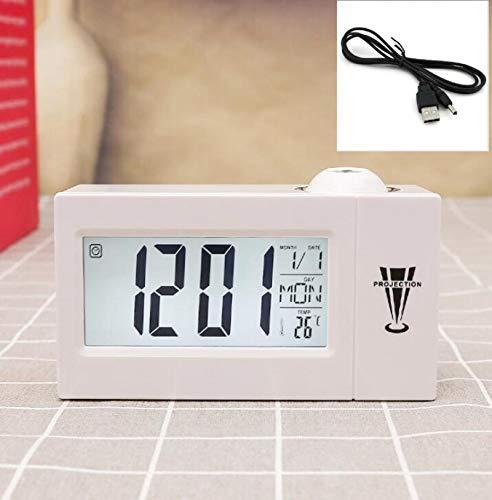 Reloj Despertador Comercial AMTN Reloj electrónico de Temperatura Reloj Despertador con repetición LCD Control de Sonido de proyección Blanco + Cable USB