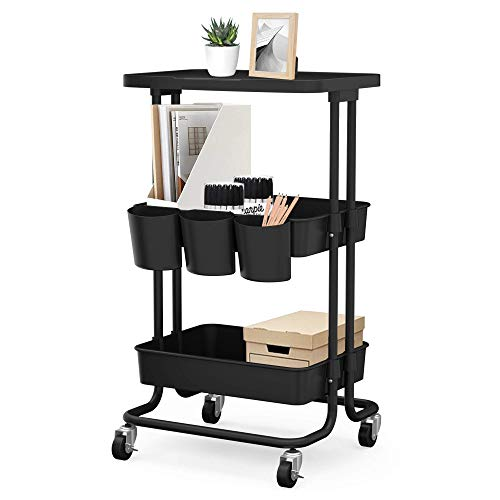 CAXXA 3-Tier Rolling Storage Organizer with Tabletop and 3 Small Baskets - Mobile Utility Cart Printer Cart Kitchen Cart Black
