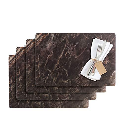 Westmark Tischsets/Platzsets, 4 Stück, 43,5 x 30 cm, PET, Schwarz, Saleen Edition: Marmor