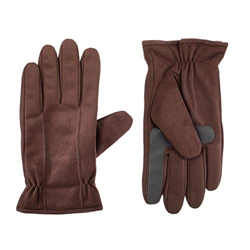 isotoner Stretch Leather Men's Gloves, Touchscreen Technology, Dual Lining, Brown, XL