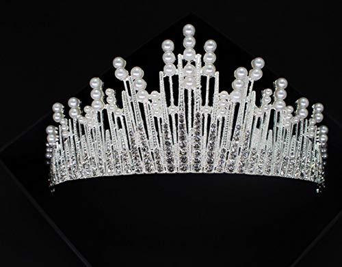 FGEUDT-KJHI bruid prinses Crown kristal strass Koreaanse stijl hoofdband strass bruiloft hoofdversiering verjaardag bruiloft jurk accessoires bruid tiara prom haarsieraad HG021 zilver