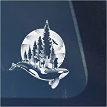 Bear, Wolf, Deer and Orca Whale in Northwest Mountains with Trees Clear Vinyl Decal Sticker for Window, Moon and Clouds Si...