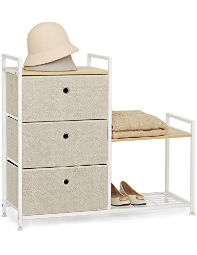 Cajonera con 3 Cajón y Zapatero Cómoda Gabinete de Almacenamiento Vertical Comodas de Tela Mueble Organizador Armario para Pasillo Entrada Trastero Salon Dormitorio Madera Metal Blanco & Beige