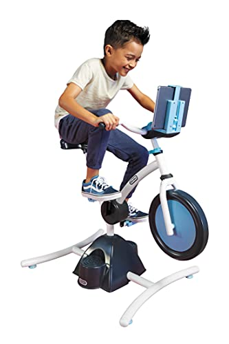 Little Tikes Pelican Explore & Fit Cycle Fun Fitness Adjustable Exercise Equipment Kids Stationary Bike with Videos Audio and Music for Children 3-7 Years Old