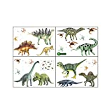 UTDKLPBXAQ 4 Sheets Dinosaur Wall Stickers Cartoon Dinosaur Wall Tattoo Dinosaur Wall Pictures Triceratops Apatosaurus Maiasaura Stegosaurus for Boy's Room Playroom Bedroom Window Wall