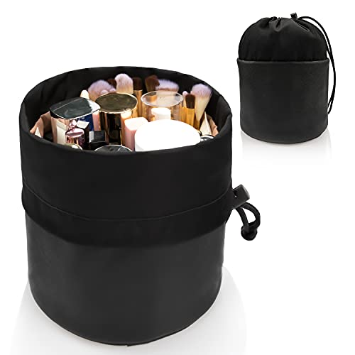 Small Makeup Bag, Portable Cosmetic Bag Travel makeup Organizer Bags Toiletry Storage Cosmetics Barrel Bags with Drawstring Bucket Round Pocket For Women/Men-Black