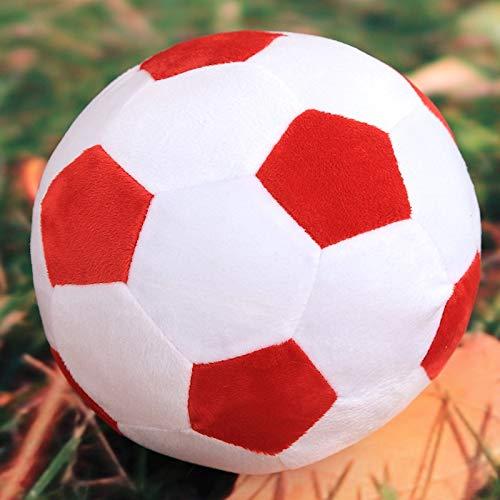 DishyKooker Fu?Ball-Kissen angef¨¹lltes flaumiges Pl¨¹sch-Baby-Fu?Ball-weiches dauerhaftes Fu?Ball-Sport-Spielzeug-Geschenk f¨¹r Kinder Rot und Wei? (Fu?Ball) 30 cm Komfortables Leben