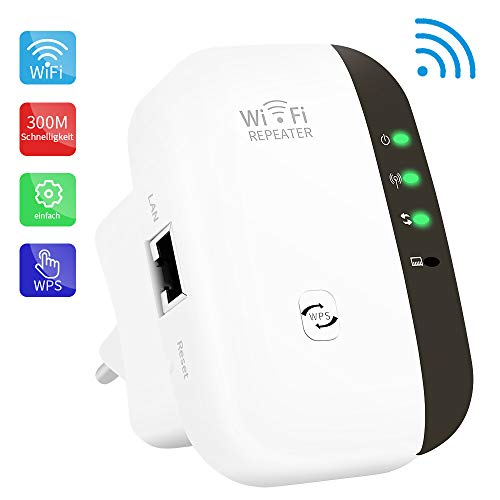 WLAN-Repeater, Wireless Netz Signal Verstärker 300Mbit/s, Fast-Ethernet Port, WPS Taste, EU Stecker, Mini WLAN Verstaerker Receiver Kompatibel mit Allen WLAN Geräte
