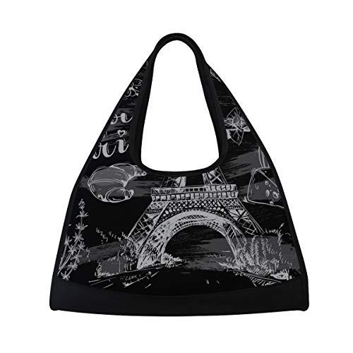 NISENASU Sporttasche,Handdrawn Paris Symbole Auf Tafel,Neue Sport Reisetaschen Tennisschläger Rucksack Badminton Kurze Reisetaschen tragbare Umhängetasche (20×6.7×18.5 inch)