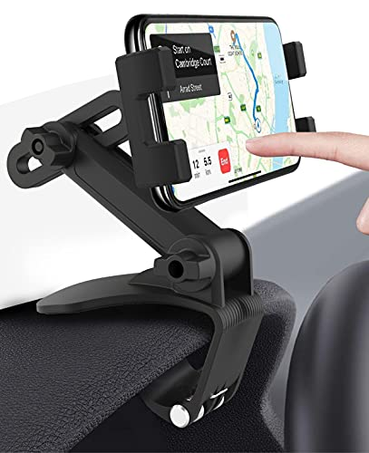 woleyi Porta Telefono Auto, Supporto Tablet Cellulare per Auto Cruscotto, Specchietto Retrovisore, Visiera Parasole con Clip a Molla Regolabile 360°, per iPhone, iPad, Samsung, Google, LG da 4-11'