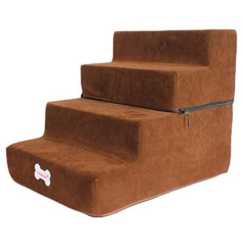 LXLA Réglable en Hauteur Escalier Chien - 4 étapes for Animaux avec échelles Suede antidérapante Couverture, Amovible Lavable, Entretien Facile (Color : Dark Brown, Size : 52×38×40cm)