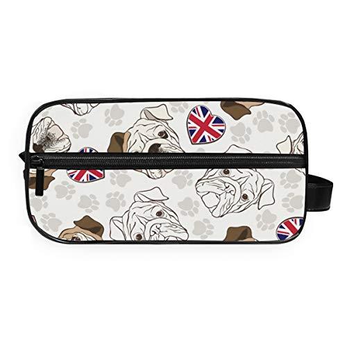 FANTAZIO Badezimmer-Aufbewahrungstasche Make-up-Tasche Englische Bulldogge Pfotenabdrücke Muster Kosmetiktasche Wash Gargle Bag
