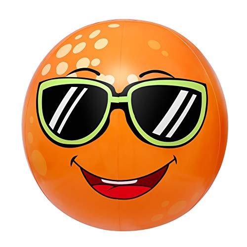 Toyvian Aufblasbares Sprinkler-Spielzeug, Strandball-Sprinkler für Kinder, Riesiger orangefarbener Sprinkler-Ball-Wasserspielzeug mit 31,4 Zoll Durchmesser für Kinder, Kleinkinder