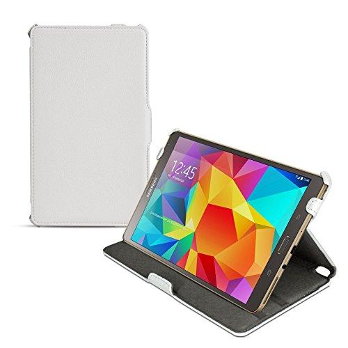 eFabrik Ultra Slim Cover für Samsung Galaxy Tab S 8.4 (T700, T701, T705) 21,34 cm (8,4 Zoll) Schutzhülle Aufsteller Tablet Hülle Zubehör Klemm Verschluss Sleep/Wake Up Funktion Leder-Optik weiß