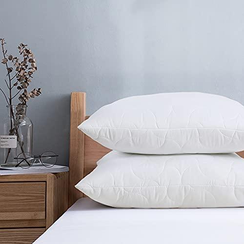 viewstar Kopfkissen 80x80 2er Set, 2 x 850g Mikrofaser Füllung Kissen Pillow mit Reißverschluss, Weiche & Angenehme Schlafkissen Polster 80 x 80, Bett Kissen für Allergiker Atmungsaktiv Komfort