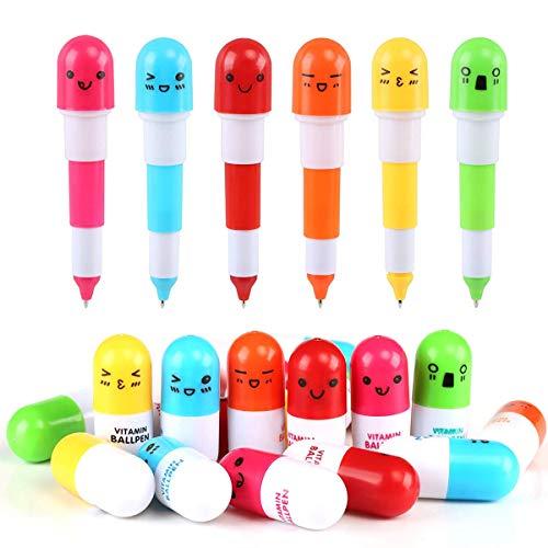 Mengger 30Pcs Bolígrafos Capsula Retráctil Pluma de Píldora de Tinta Azul Bolígrafo Regalos para Estudiantes Maestros o Empleados Enfermera