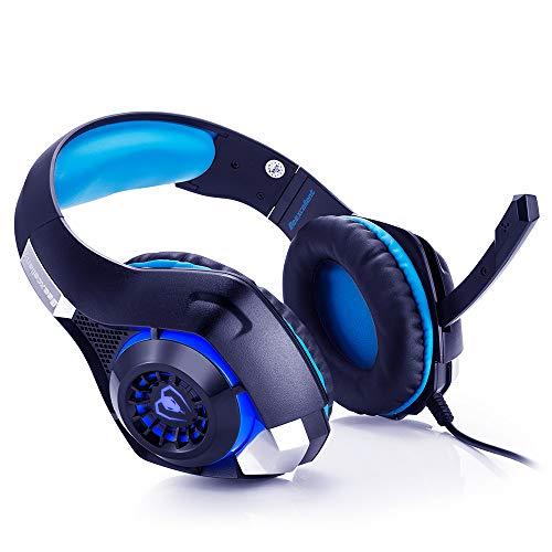Beexcellent Gaming Kopfhörer PS4 Over Ear GM-1 Gaming Headset mit LED Stereo Sound Kopfhoerer 3.5 mm mit Mikrofon Headphone für PC Laptop XBox One PlayStation 4