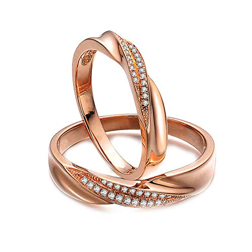 Daesar 18ct Gold Rings Men and Women Gold Ring Set Twisted with 0.12ct Diamond Ring Vintage Rose Gold Ring Women Size M 1/2 & Men Size V 1/2