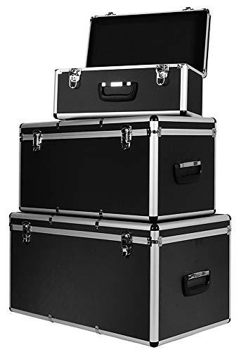 Aluminium 3er Set Boxen Alubox Alukiste Transportbox Aufbewahrung Box Trucky 2 Farben, Farbe:Schwarz