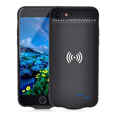 Qi Akku Hülle für iPhone 6 6S 7 8, 3800mAh Tragbare Drahtlos Ladebatterie Zusatzakku Externe Handyhülle Batterie Wiederaufladbare Schutzhülle Power Bank Akku Case für iPhone 8/7/6S/6 (Schwarz)