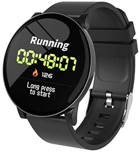 Pulsera de reloj inteligente impermeable para monitoreo del sueño de la frecuencia cardíaca, color negro, correa de silicona negra