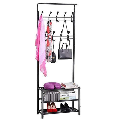 Yaheetech Heavy Duty 18 Hooks Coat Garment Rack with 3-Tier Shoe Rack Shelves for Entryway Metal Black