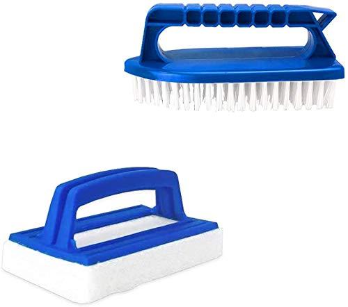 well2wellness® Pool Handbürsten-Set - Reinigungsbürste mit Griff und weißen Borsten + Pool Reinigungspad/Handpad mit Griff