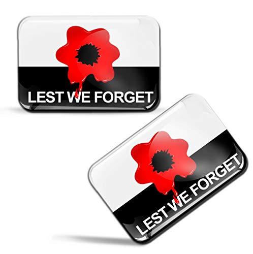 Biomar Labs® 2 x sticker 3D gel siliconen stickers Lest We Fogret vlag Brits militair herinnering vlag Poppy Remembrance Day Flag Auto Motorfiets fiets raam deur PC Tablet Laptop F 82