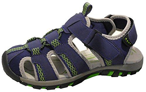 gibra® Herren Trekkingsandalen, Art. 5937, Sandalen mit Klettverschluss, dunkelblau/grün, Gr. 43
